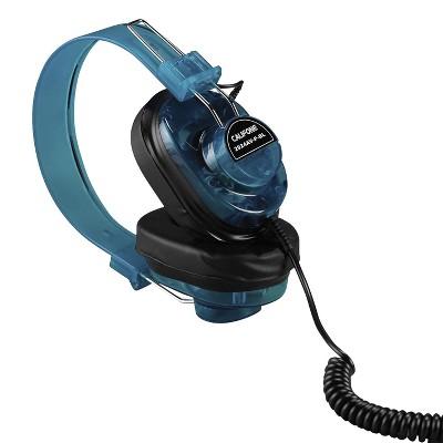 Califone 2924AV-P-BL Deluxe Monaural Over-Ear Headphones, 1/4 inch Plug, Coiled Cord, Blue, Each