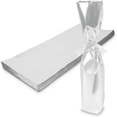 """Sparkle and Bash 100-Pack Metallic Silver Foil Wine Bottle Gift Wrapping Bags, 6.25"""" x 17.5"""""""