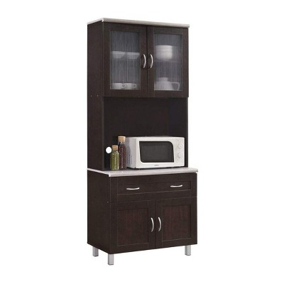 Hodedah Kitchen Dining Room Fine China Dinnerware Small Appliance Pots and Pans Microwave Storage Cabinet, Chocolate