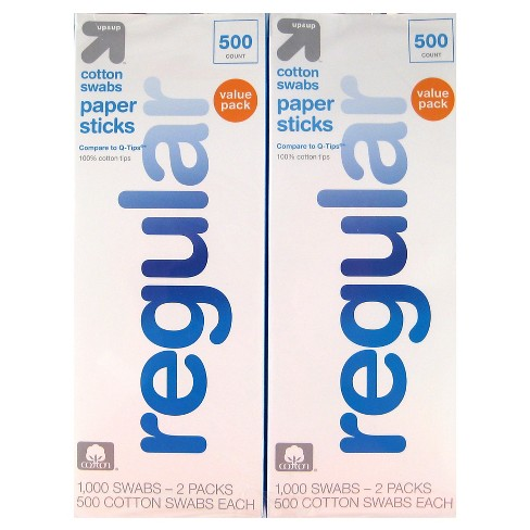 Regular Cotton Swabs Paper Sticks 2pk - 500ct -Up&Up™ (Compare to Q-Tips) - image 1 of 1