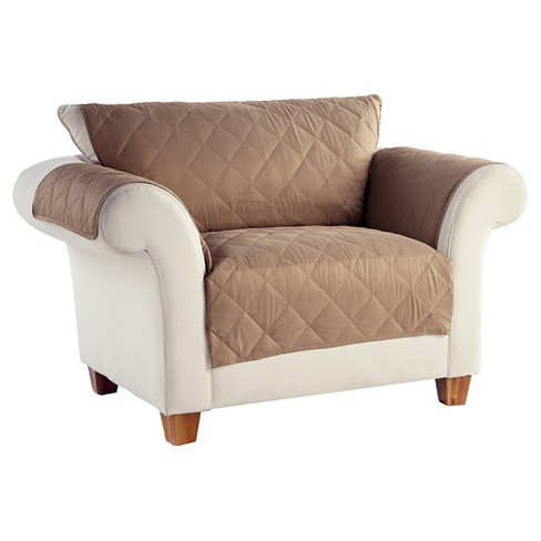 Taupe Brown No Slip Furniture Protector Loveseat Slipcover - Serta - image 1 of 2