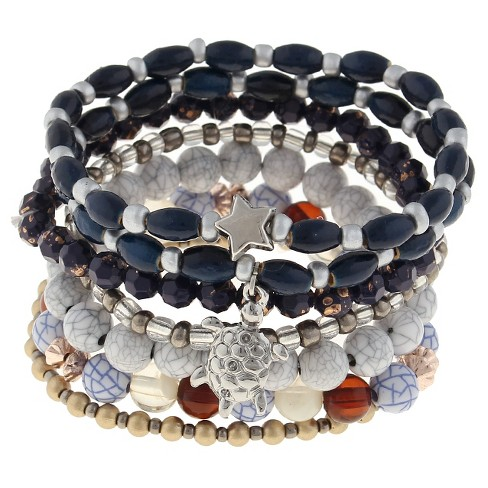 Women's 7 Piece Stretch Beaded Bracelet with Turtle and Star Charm- Gold/Blue - image 1 of 2