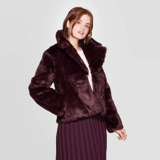 Women's Long Sleeve Faux Fur Jacket - A New Day™ Burgundy M