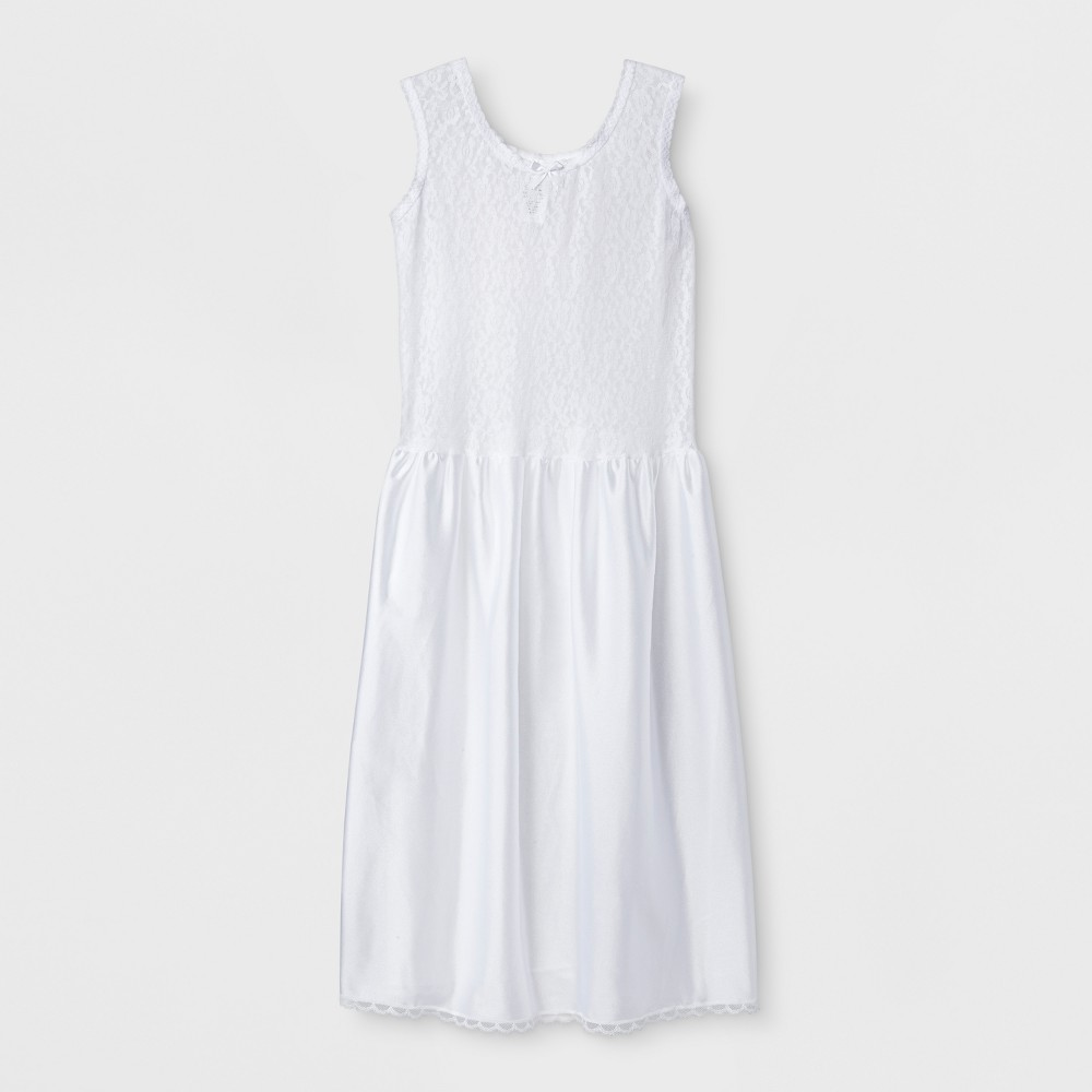 I.C Collections Girls' Strecth lace slip - White 16