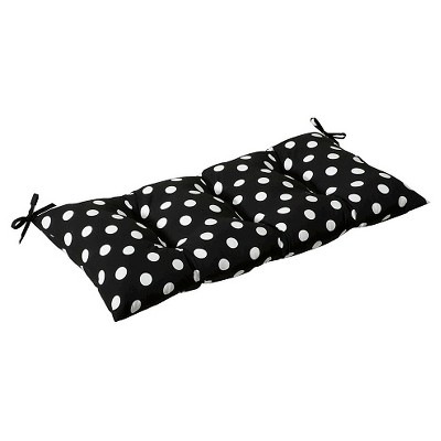 Outdoor Tufted Bench/Loveseat/Swing Cushion - Black/White Polka Dot