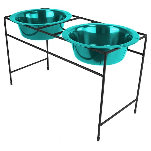 Platinum Pets Modern Double Cat/Dog Bowl - Caribbean Teal - .75 Cup - image 1 of 1
