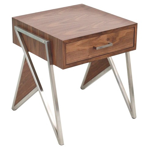 End Table - Walnut/Stainless Steel - Lumisource - image 1 of 4