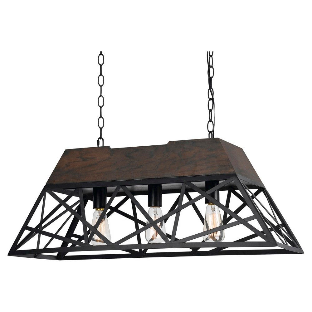 Cal Lighting Antonio Wood / Metal 5 Light Chandelier, Black