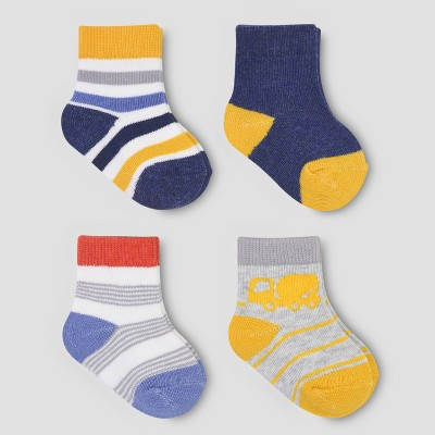 Baby Boys' 4pk Trucks Socks - Just One You® made by carter's Navy/Yellow 0-3M