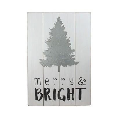 "Ganz 20"" Gray and Black Rectangular Christmas Wall Hanging"