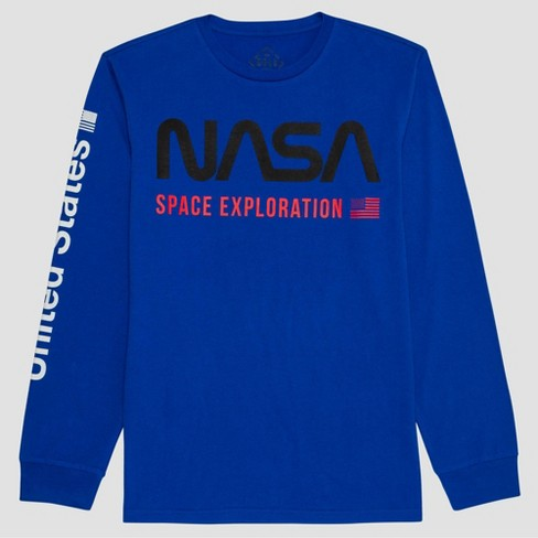 Men's NASA Long Sleeve Graphic T-Shirt - Blue - image 1 of 3