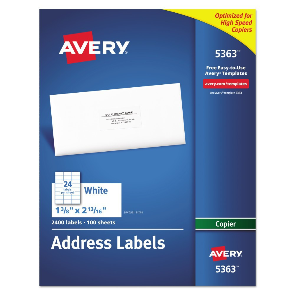 Avery 1-3/8 x 2-13/16 Self-Adhesive Copiers Address Labels - White (2400 Per Box)) Get your mail ready at a moment's notice with these white address labels. They make it easy to ship products and send invoices on the spot. Create a master sheet of labels or use mail merge to reach your entire customer base. Free templates and designs from Avery Design and Print will help take care of margin settings and spacing. All you do is fill in names and addresses, print through a copier and apply. This product was made from wood sourced from a certified managed forest. Label Size - text: 1 3/8 x 2 13/16; Label Color(s): White; Machine Compatibility: Copiers; Sheet (W x L): 8 1/2 x 11.