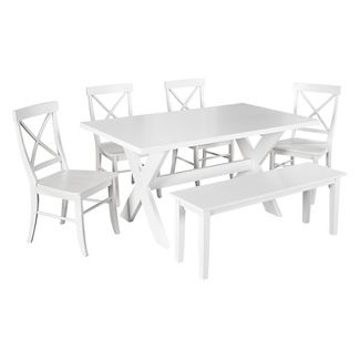 Sumner Dining Set with Bench White 6 Piece - TMS
