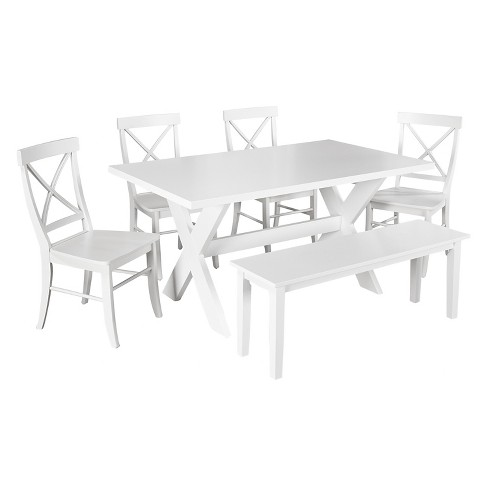 Sumner Dining Set with Bench White 6 Piece - TMS - image 1 of 2