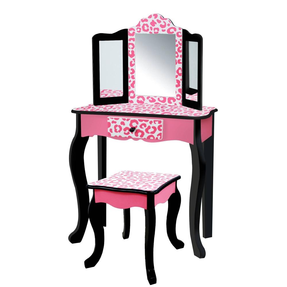 Image of Leopard Fashion Prints Vanity Table & Stool Set - Teamson Kids
