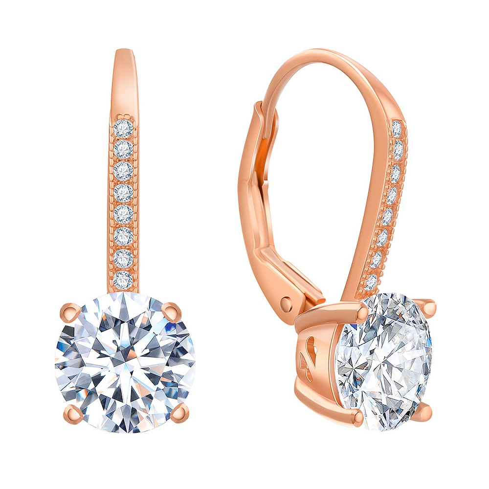 18K Rose Gold Sterling Silver Clear Cubic Zirconia Lever back Earring