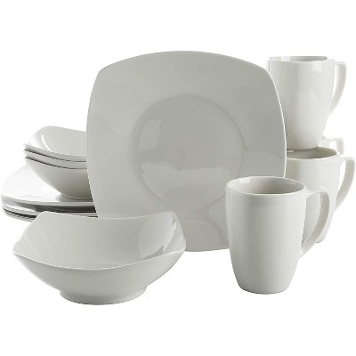 Gibson Home Zen Buffetware Versatile 12 Piece Square Dinnerware Dish Set with Multi Sized Plates, Bowls, and Mugs, White