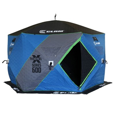 CLAM 14470 X-600 Portable 7 Person 11.5 Foot Pop Up Ice Fishing Angler Thermal Hub Shelter Tent with Anchors, Tie Ropes, and Carrying Bag