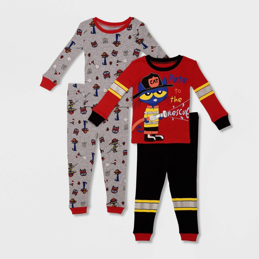 Image of Toddler Boys' 4pc Pete the Cat 'Pete To The Rescue' Pajama Set - Red/Black/Gray 2T, Boy's, Black/Gray/Red
