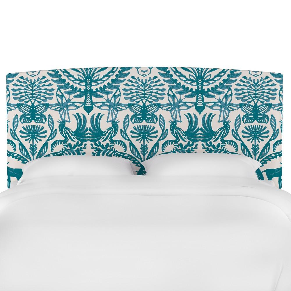 Upholstered Headboard King Animal Print Teal/Cream (Blue/Ivory) - Opalhouse