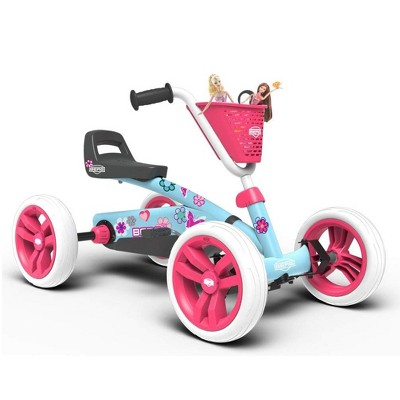 Berg Buzzy Bloom Toddler Adjustable Compact Pedal Powered Go Kart, Light Blue