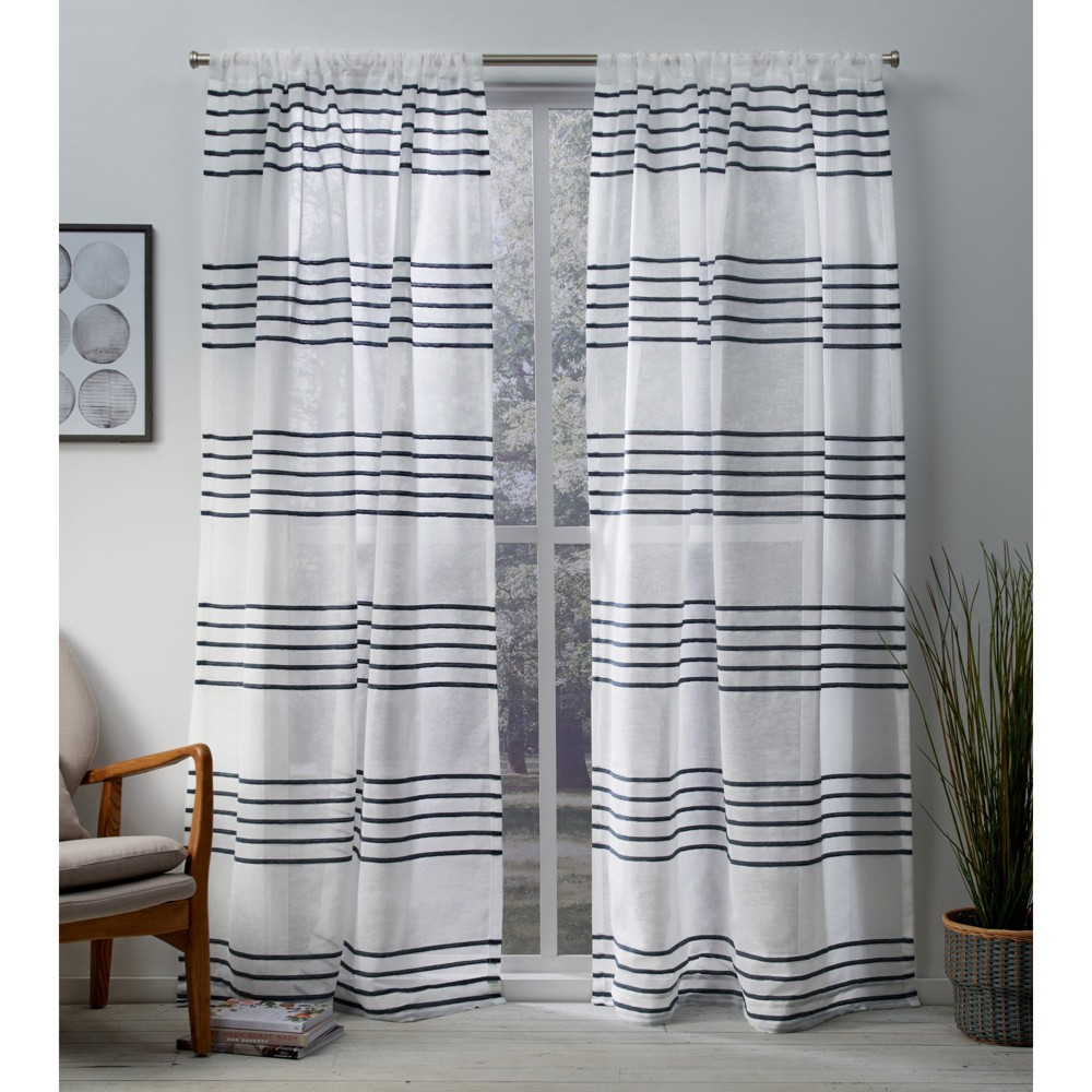 Monet Sheer Linen Pleated Cabana Stripe Rod Pocket Window Curtain Panel Pair Indigo (Blue) 54x108 - Exclusive Home