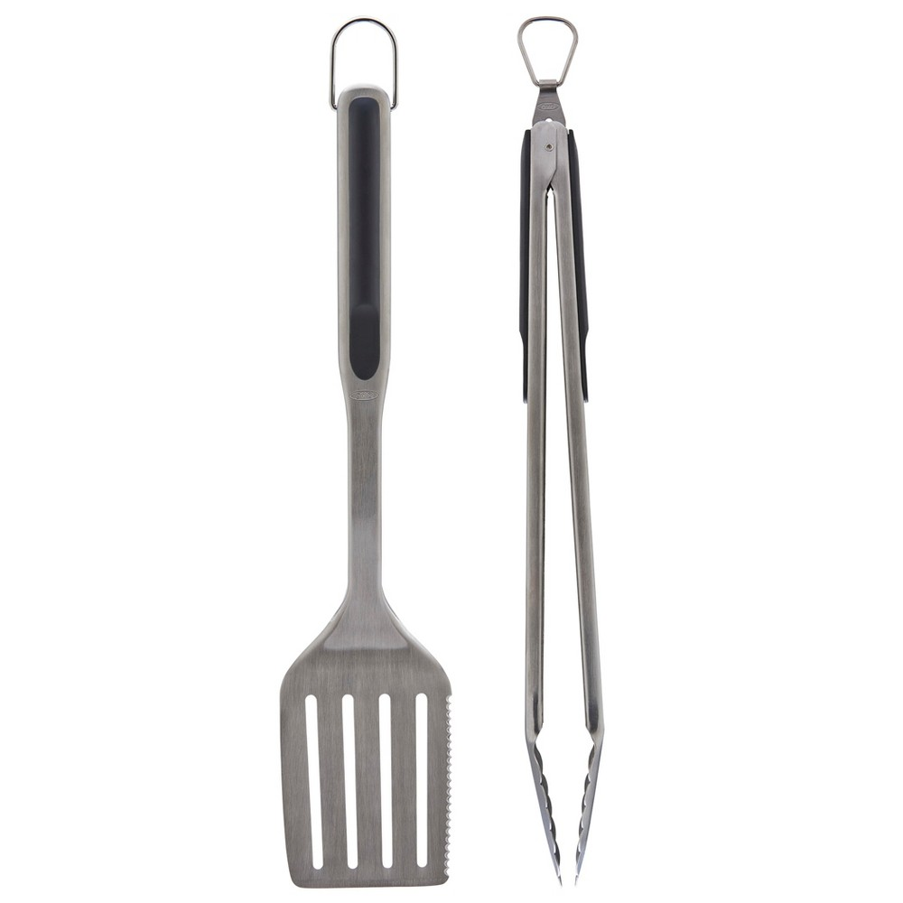 Image of OXO 2pc Stainless Steel Grill Tool Set, Silver
