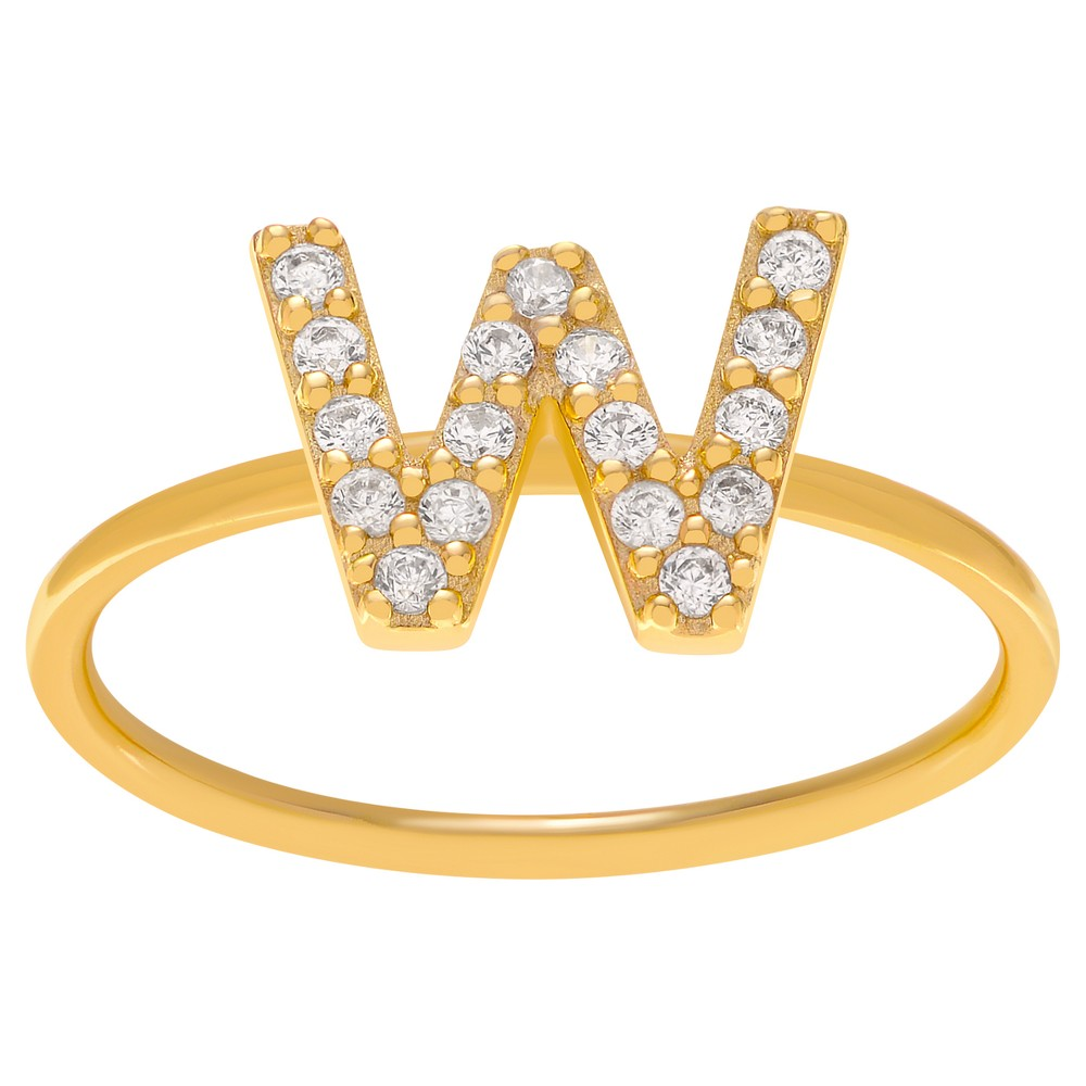 1/6 CT. T.W. Round-cut CZ Initial W Pave Set Ring in Sterling Silver - Gold, 6, Girl's, Gold Letter W