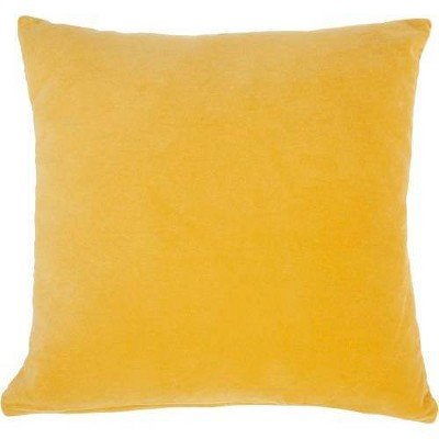 "16""x16"" Solid Velvet Square Throw Pillow Yellow - Nourison"