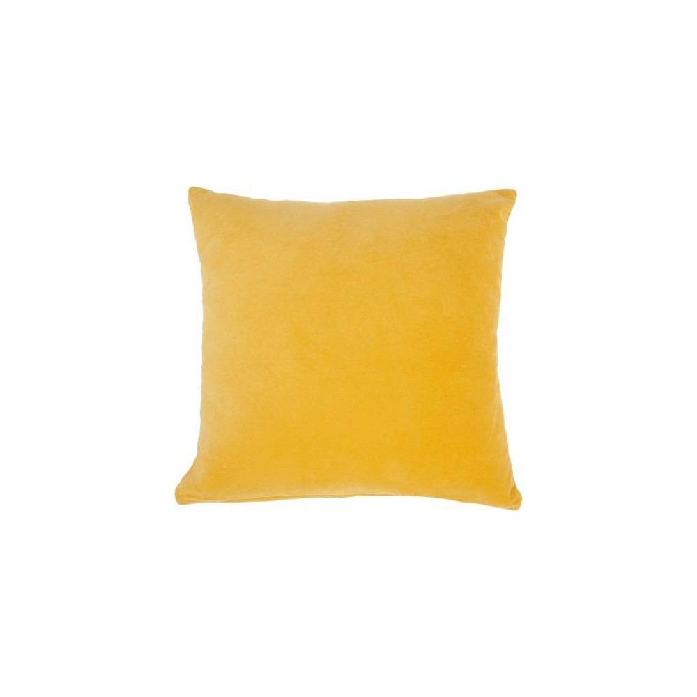 Image of Life Styles Solid Velvet Square Throw Pillow Yellow - Nourison