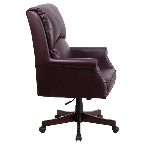 High Back Pillow Burgundy Leather Executive Swivel Office Chair Flash Furniture Target
