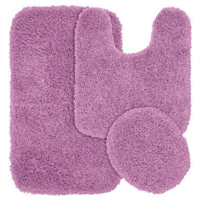 Garland 3 Piece Jazz Shaggy Washable Nylon Bath Rug Set - Purple