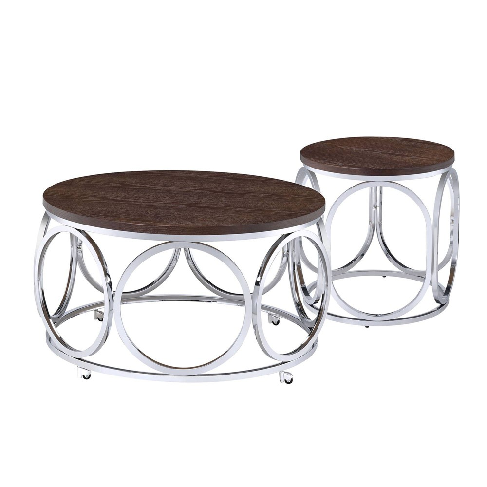 Image of 2pc Jayme Occasional Coffee Table & End Table Set Brown - Picket House Furnishings