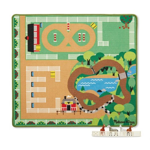 Melissa & Doug Round the Ranch Horse Activity Rug (39 x 36 inches) With 4 Play Horses and Folding Fence - image 1 of 4