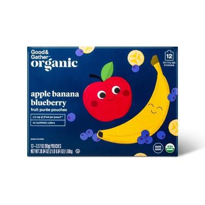 Organic Applesauce Pouches - Apple Banana Blueberry - 12ct - Good & Gather™