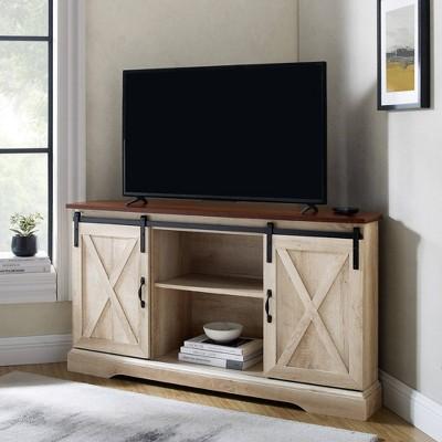 "Robinson Rustic Farmhouse Sliding Barn Door Corner TV Stand for TVs up to 58"" - Saracina Home"