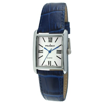 Women's Peugeot Rectangular Leather Strap Watch - Silver and  Blue
