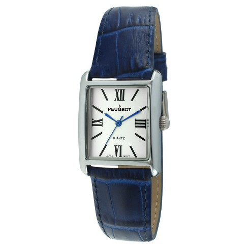 Women's Peugeot® Rectangular Leather Strap Watch - Silver and  Blue - image 1 of 2