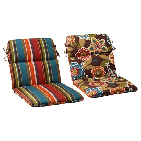 Outdoor Reversible Rounded Chair Cushion Brown Turquoise Floral