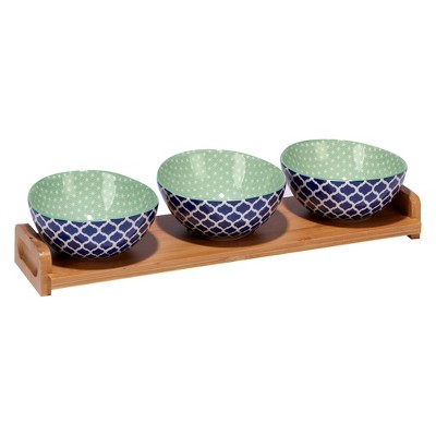 Certified International Chelsea Mix & Match Porcelain and Bamboo 4pc Serving Set Blue