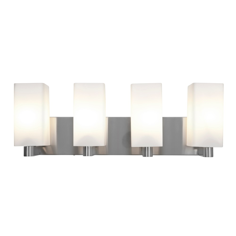 Image of Access Lighting Archi 4 Light Vanity Brushed Steel Finish Opal Glass Shade Wall Lights Silver