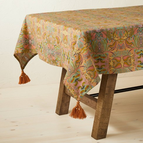 """84"""" x 60"""" Cotton Tablecloth with Removable Tassels - Opalhouse™ designed with Jungalow™ - image 1 of 4"""