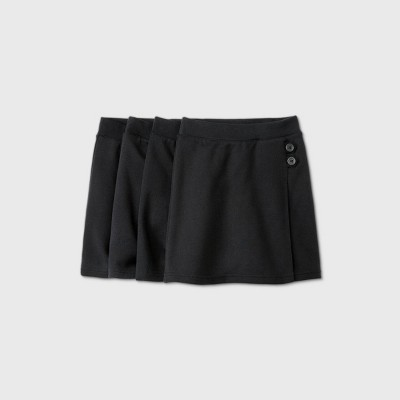 Girls' 4pk Stretch Uniform Knit Skorts - Cat & Jack™ Black
