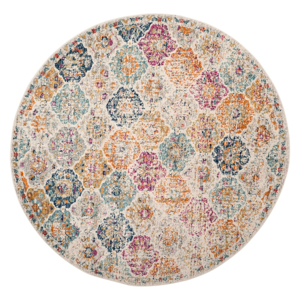 67 Medallion Loomed Round Area Rug Cream - Safavieh Discounts