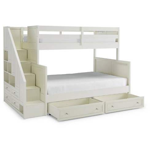 Twin Over Full Naples Bunk Bed With Storage Drawers Steps Off White Home Styles