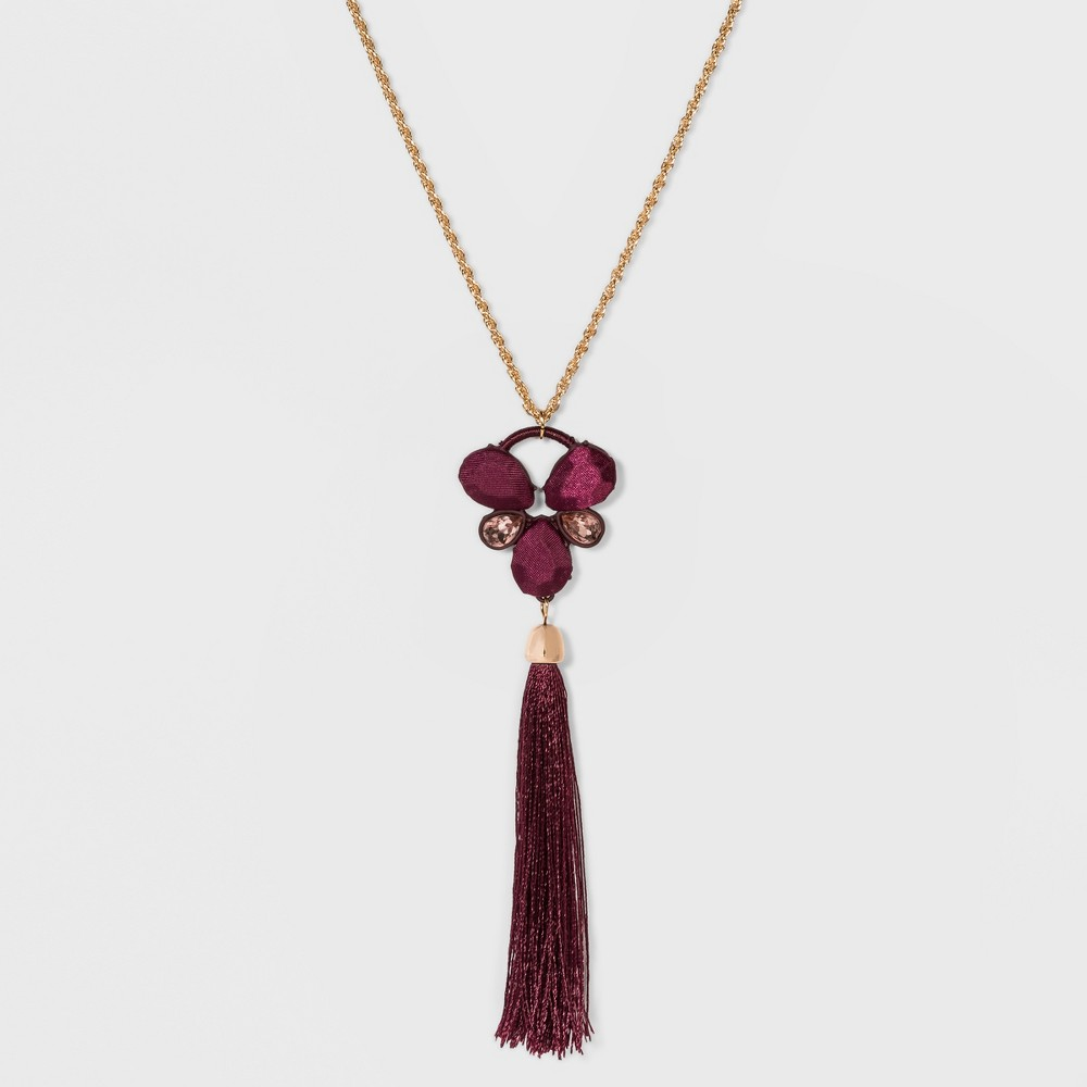 Cab and Bezel Stone with Tassel Necklace - A New Day Royal Burgundy