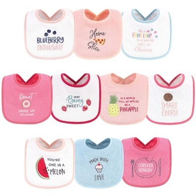 Hudson Baby Infant Girl Cotton Terry Drooler Bibs with Fiber Filling 10pk, Food Girl, One Size