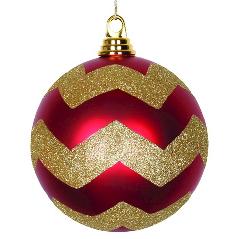 "6"" Red/Gold Matte/Glitter Chevron Ball Christmas Ornament - image 1 of 1"