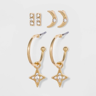 Cubic Zirconia Earring Set 3pc - A New Day™ Gold
