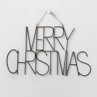 Metal Merry Christmas Hanging Sign Black - Wondershop™